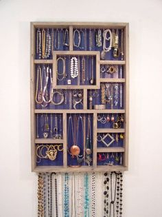 Jewelry Wall Display Organizer Blue and Gray