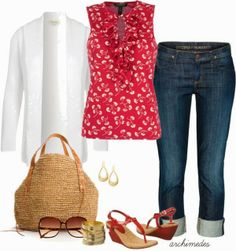 Casual Outfits   Red, White and Blue for Summer  Ralph Lauren blouse, Viyella cardigan, LAUREN RALPH LAUREN sandals, Antik Batik handbag, H&M Sunglasses, Citizens of Humanity Jeans  by archimedes16