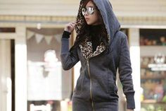 $27 for a Leopard Fleece Lined Hoodie - Shipping Included