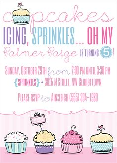 cupcakes, icing, sprinkles oh my... cupcake birthday party invite via party box design!