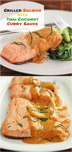 Grilled Salmon with Thai Coconut Curry Sauce © Jeanette's Healthy Living  #seafood #fish #dinner #Asian #glutenfree