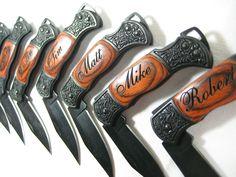 Groomsmen gifts? 6 Engraved Black Decor Folding Pocket Knives Personalized Groomsman Best Man Ring Bearer Father of the Bride Gift Wedding Gift Keepsake. $96.00, via Etsy.