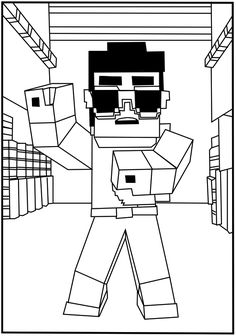 A free, printable Minecraft Gangnam-style coloring page found at MinecraftColoringPages.com