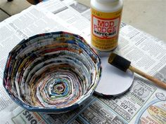 Turn old magazines into DIY bowls. Cute and thrifty!