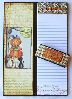 Halloween Notepad and a Christmas one for the Holidays - by Gloria Stengel using Crafty Secrets Halloween and Christmas CD's