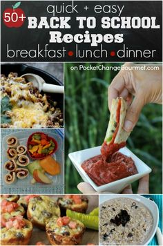 50+ Quick & Easy Recipes for Back to School :: Breakfast, Lunch and Dinner :: on PocketChangeGourmet.com #BacktoSchool