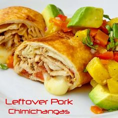 Pork Chimichangas with Avocado Pineapple Salsa - stretch your food dollar to a new delicious level by using leftover roast pork, pork chops or even pulled pork in this dinner that's sure to become a family favorite.