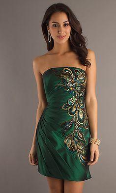 Short Strapless Green Dress $248