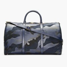 Navy Camo Print Leather Boston Duffle Bag by Valentino