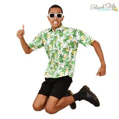 Mens Hawaiian Shirt - It's a PINEAPPLE PARTY! 100% cotton. #hawaiianshirt #hawawaiianshirts #partyshirt #alohafriday #pineappleparty #luaushirt #cruisewear #islandstyleclothing #pineappleshirt #festivalshirt #festivalfashion #fashion #fashionita #partyshirt
