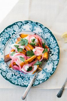 ROASTED YAMS, GINGER YOGURT, PICKLED RED ONIONS