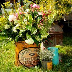 vintage bucket floral arrangements