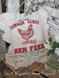 "Vintage Style Farmhouse Feedsack Sawdust Pillow Advertising Country Cottage Shabby Ruffle Floursack Pantry Feed Sack ""Common Sense Hen Feed"""