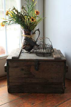 Antique Outdoor Porch Wooden Milk Box