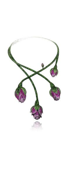 A tsavorite (66 carats), pink sapphire (16 carats) and ruby (10 carats) floral necklace from the Chopard Red Carpet Collection, set in 18-carat white gold
