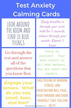 Do you have a child or student with test anxiety?  These printable set of cards are great reminders for students as they work through their tests.  These can be accessed by subscribing for free access to the freebie library.  #testanxiety #childanxiety #parenting #specialneeds #teachers #testmotivation