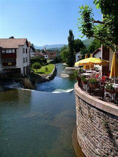 Terrace by the river - St-Jean-Pied-de-Port, Pays Basque,...