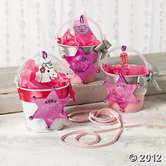 Pink Cowgirl Favor Tins for a Sheriff Callie birthday