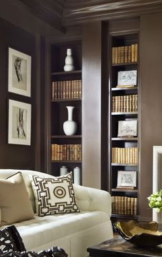 mocha painted bookshelves