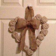 Wreath made from painters drop cloth and burlap bow