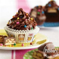 Funfetti® Peanutty Nougat #Brownie #Cupcakes from Pillsbury® Baking