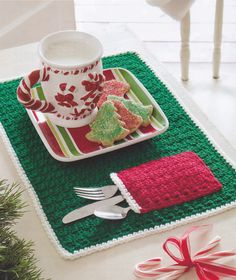 Crochet Pattern ~ CHRISTMAS POCKET PLACE MAT ~ | eBay