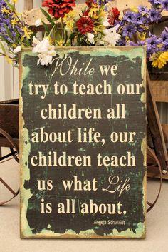 Teach Our Children Burlap Sign