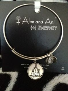 DiSNEY ALEX AND ANI + ENERGY SILVER EXPANDABLE CINDERELLA'S CASTLE BRACLET