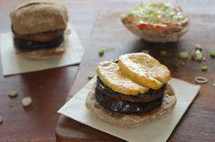 Portobello Mushroom & Aubergine Burgers with Halloumi - the ultimate veggie burger! Vegetarian food for everyone!