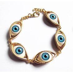 HOT Unique Turkish blue evil eye shape charm bracelet fashion lucky... ❤ liked on Polyvore