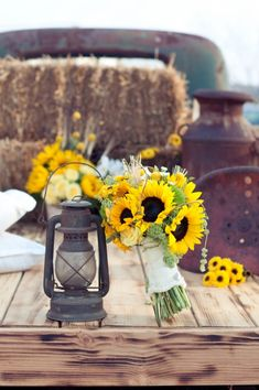 old trucks, wedding bouquets, hay bales, country weddings, bouquet wedding, rustic weddings, themed weddings, theme weddings, sunflower theme