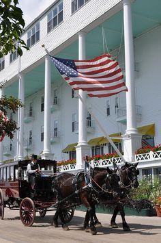 Grand Hotel, Mackinac Island, Michigan- Best ROMANTIC hotel- manicured grounds, luxe linens.