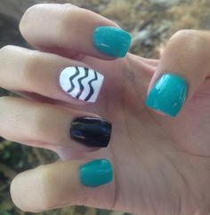 Teal  black chevron nails  design. Also San Jose shark colors. ❤❤ My own nails****