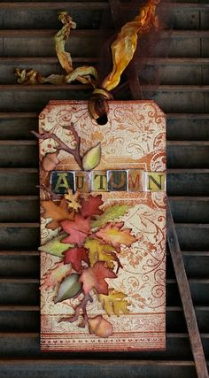 Fall tag using Tim Holtz