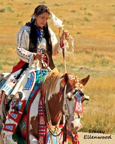 Native American and Her Horse - Crow Fair 2011, Crow Agency, Montana. LOVE the colors.