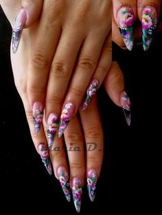 pretty floweri stiletto, tropical design, weapons, stiletto nails, stilettos, flowers, long nails, pandas, eyes