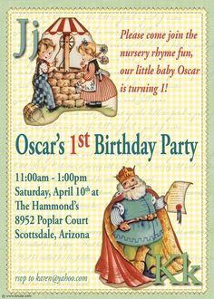 Nursery Rhyme Birthday Party Digital Invitation-via Etsy.
