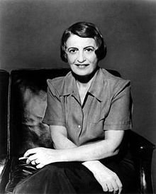 "Ayn Rand, Russian-American novelist, philosopher, playwright, and screenwriter. Best known for her book ""Atlas Shrugged"" (Petrograd State University)"