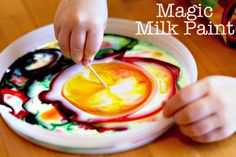 "milk + food coloring + dishsoap + toothpick : The fun is in the mixing of colors, but kids can ""paint"" paper towels afterwards."