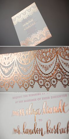 Copper Foil Wedding Invitations with Hot Pink letterpress. we. die.