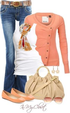 White tank top paired with blue jeans and a orange cardigan and basic ballet flats. Added accessories are the orange intricate scarf with aviators paired with beautiful flower earrings,off brown tote bag and a brown flower belt ♥