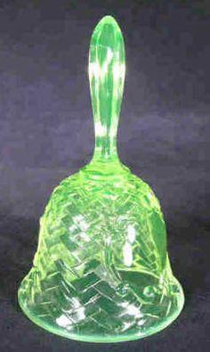Basket Weave Vaseline Glass Bell