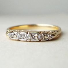Antique Edwardian Five Diamond 18k Gold Ring Approx by luxedeluxe, $225.00