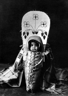 Native American baby of the Nez Perce tribe - Photographed by Edward S. Curtis, 1911.