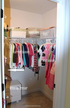 Spring clean your closets in four easy steps! Time to purge, make room and organize. Via Clean Mama