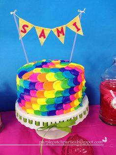 Rainbow cake at a Lalaloopsy Party #lalaloopsy #party