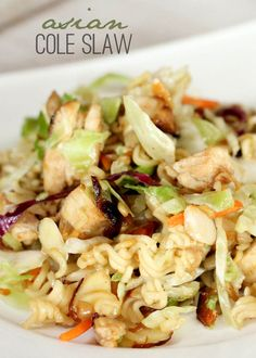 A delicious Asian version of Cole Slaw - so simple and perfect for the summer! { lilluna.com }
