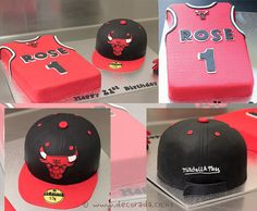 For a Chicago Bulls basketball fan, Rose shirt which is his favourite player and snap back cap. Both cakes are chocolate mud covered in fondant with handcut gumpaste Chicago Bulls logos detailed with royal icing.     Visit http://www.itop-seo.com for  website designs  websites development  SEO  social media