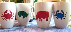 DIY stenciled animal mugs using Pier 1 white mugs