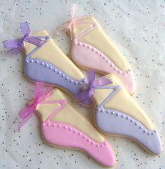 slippers, sugar cooki, slipper cooki, ballet slipper, ballerina cookie